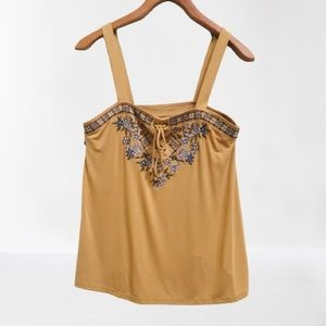 American Eagle Yellow Embroidered Lace Up Tie Tank